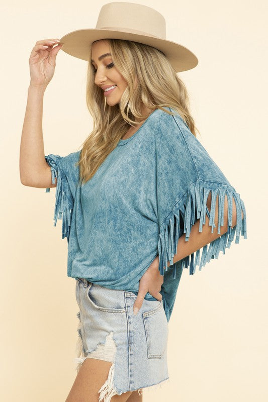 TURQUOISE MINERAL DYED FRINGE TOP
