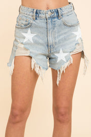 LIGHT WASH STAR DISTRESSED SHORTS