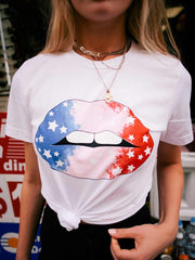 RED WHITE BLUE LIPS - WHITE TEE