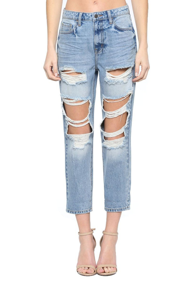 HIGH RISE DISTRESSED STRAIGHT JEANS
