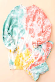 MINT/CORAL TIE DYE SWEAT PANTS