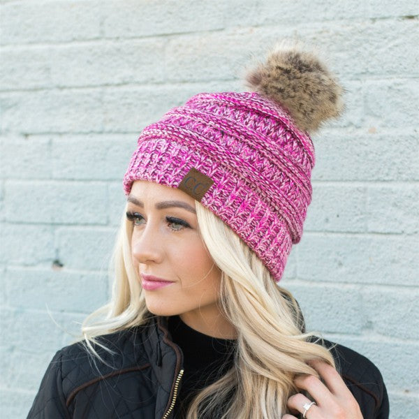 GISELLE PINK POM BEANIE