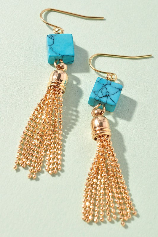 TURQUOISE GEM GOLD CHAIN EARRINGS