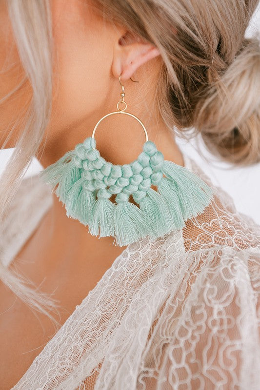 MINT/GOLD HOOP TASSEL EARRINGS
