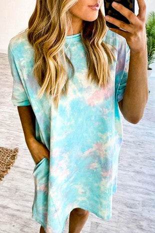 MINT TIE DYE MIDI POCKET DRESS