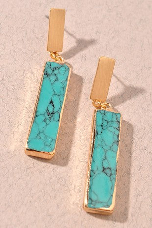 TURQUOISE / GOLD RECTANGLE DROP EARRINGS