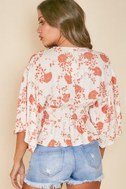CREAM/ORANGE FLORAL V-NECK TOP