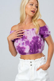 PURPLE TIE DYE OFF-THE-SHOULDER CROPTOP