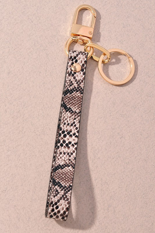BLACK SNAKESKIN KEY LOOP