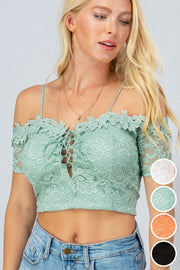 OFF SHOULDER LACE CROP TOP