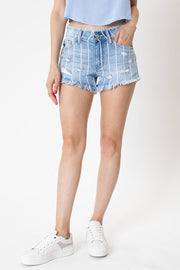 DENIM / LIGHT PINK PIN STRIPE DENIM SHORTS