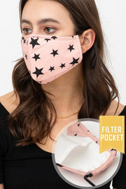 PINK STAR PRINTED FACE MASK