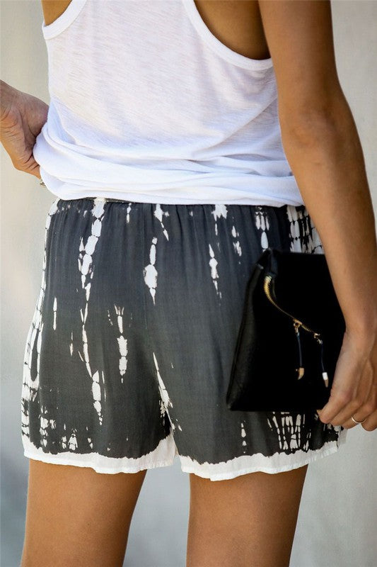 GRAY TIE DYE BEACH SHORTS