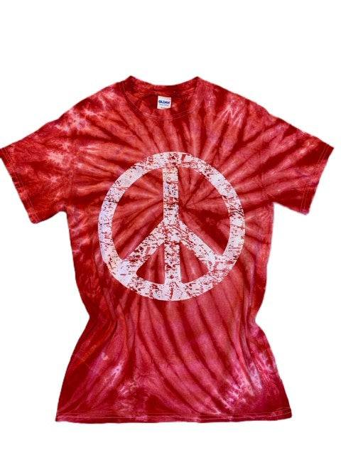 RED TIE DYE PEACE SIGN TEE