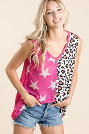 SLEEVELESS FUCHSIA STAR LEOPARD TOP
