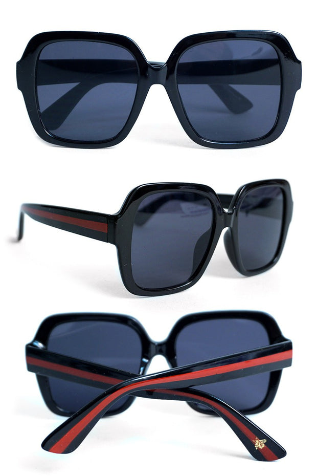 OVERSIZED RED STRIPE BEE SUNNIES