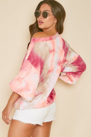 BERRY/NEON ORANGE OFF-THE-SHOULDER TIE DYE TOP