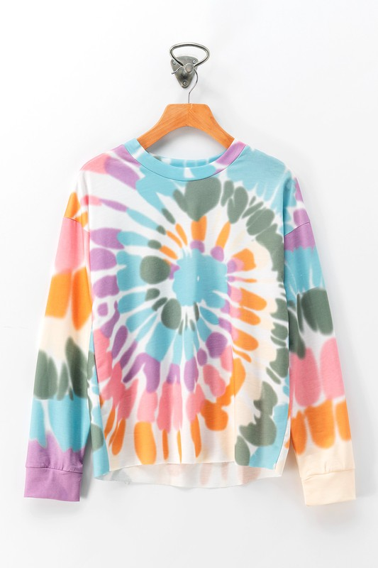 TIE DYE SWIRL DROP SHOULDER KNIT TOP