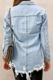 LIGHT WASH DISTRESSED DENIM BUTTON UP