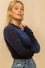 NAVY LEOPARD BURN OUT VELVET MESH TOP