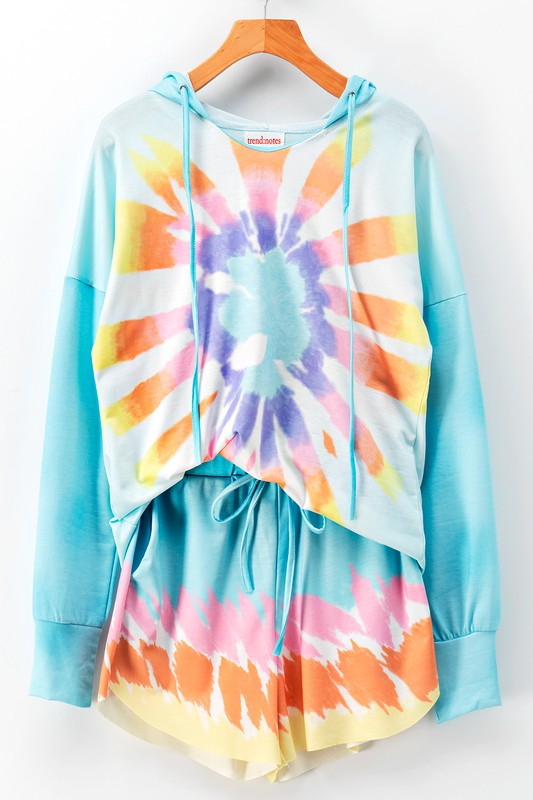 TIE DYE HOODIE AND SHORTS LOUNGE SET