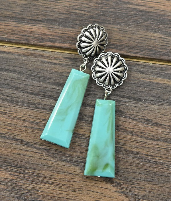 TURQUOISE CONCHO DROP EARRINGS