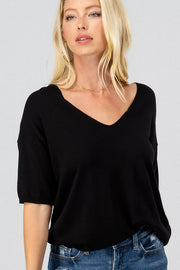 BLACK V-NECK DROP SHOULDER KNIT TOP