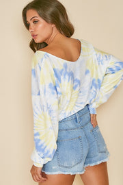 BLUE/YELLOW TIE DYE CROPPED LONGSLEEVE TOP
