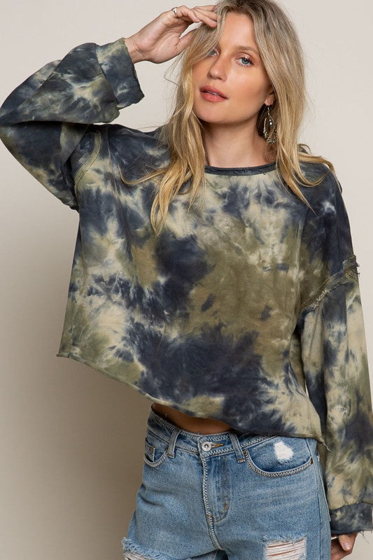 OLIVE NAVY TIE DYE PULLOVER