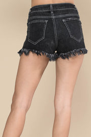 BLACK FRAYED JEAN SHORTS