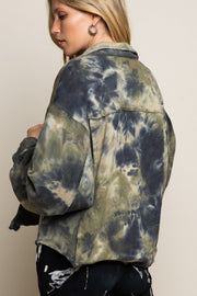 GREEN/NAVY TIE DYE TERRY JACKET