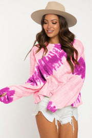 HOT PINK TIE DYE FRENCH TERRY TOP