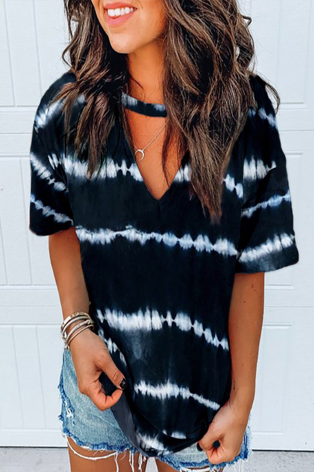 BLACK TIE DYE V NECK TOP