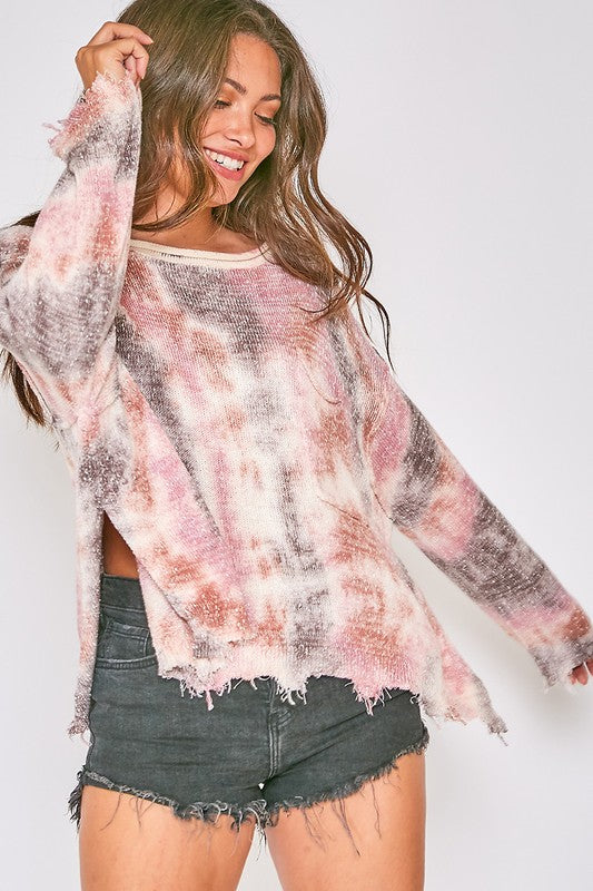 MAUVE/PUPLE TIE DYE KNIT TOP - DISTRESSED HEM