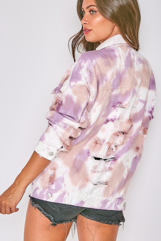LAVENDER TIE DYE DENIM JACKET