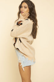 DISTRESSED BEIGE LEOPARD SWEATER