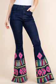 EMBROIDERED DENIM FLARES