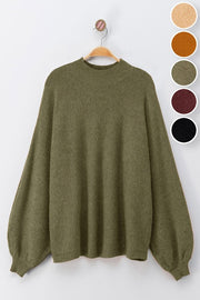 OLIVE DOLMAN PUFF SLEEVE KNIT TOP