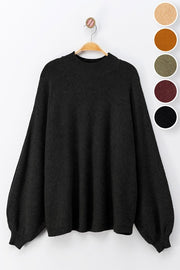 BLACK DOLMAN PUFF SLEEVE KNIT TOP