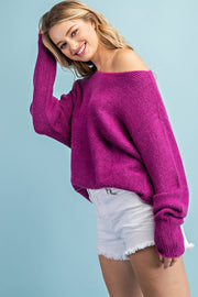 ORCHID OFF THE SHOULDER RIBBER SWEATER