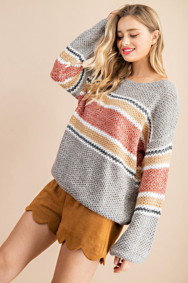 RUST / GRAY STRIPED KNIT SWEATER