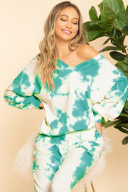 TURQUOISE TIE DYE V-NECK PULLOVER (OFF-SHOULDER)