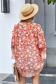 ORANGE FLORAL BABYDOLL TUNIC