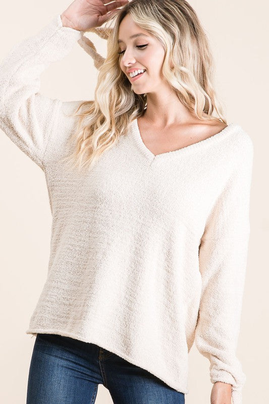 CREAM TIE SLEEVE SWEATER TOP