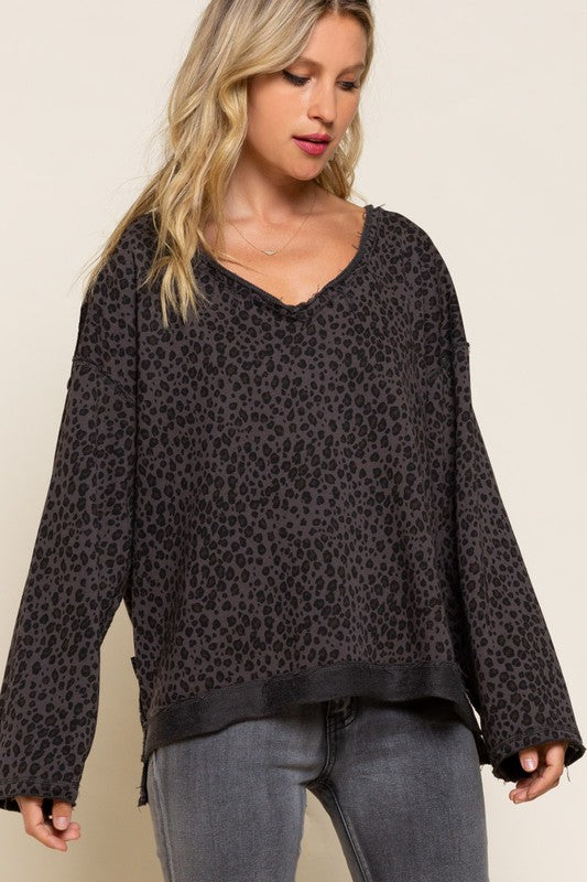 CHARCOAL LEOPARD REVERSABLE TERRY KNIT TOP
