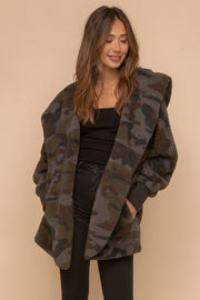 CAMO PRINT FAUX FUR OPEN JACKET