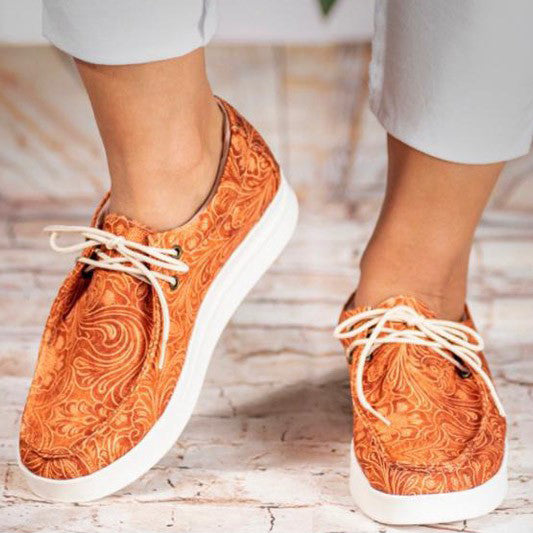 TOOLED LEATHER CANVAS WESTERN SNEAKER