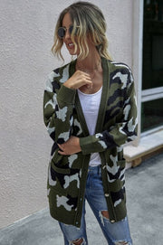 LONG CAMO CARDIGAN WITH POCKETS