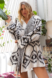 CREAM/BLACK AZTEC OVERSIZED SWEATER