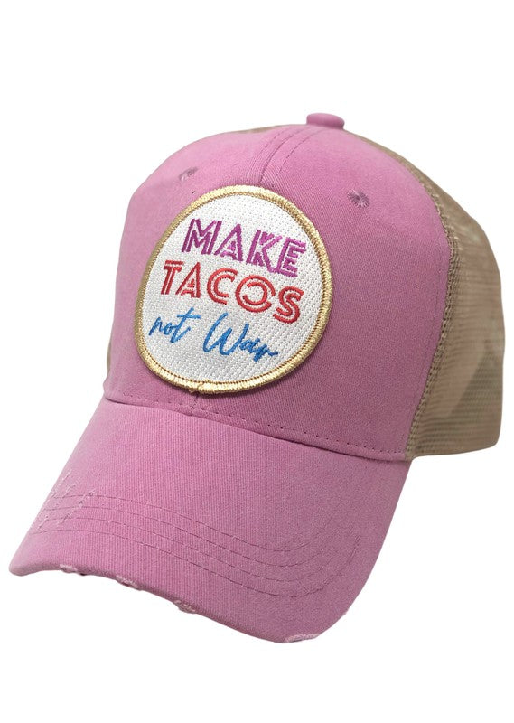 MAKE TACOS NOT WAR PATCH HAT - PINK